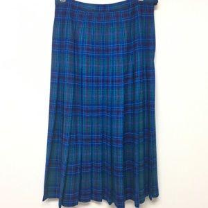 Pendleton Tartan Plaid Knife Pleat Skirt Blue Teal